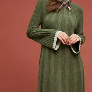 Anthropologie Arsenau Sweater Dress in Moss